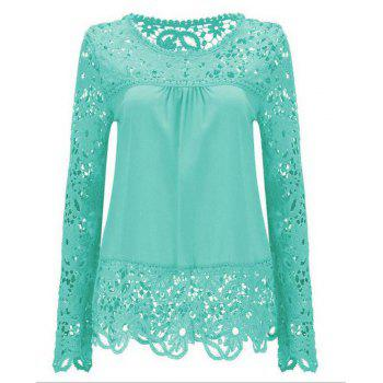 Solid Color Lace Spliced Hollow Out Blouse