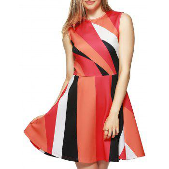 Color Block Fit Flare Dress RED