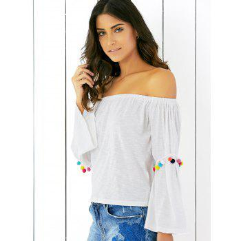 Off The Shoulder Flare T-shirt blanc à manches - Blanc XL