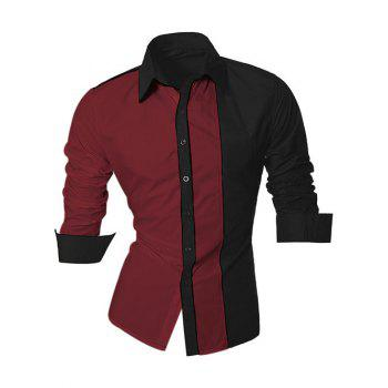 Long Sleeve Color Block Splicing Design Men's Shirt