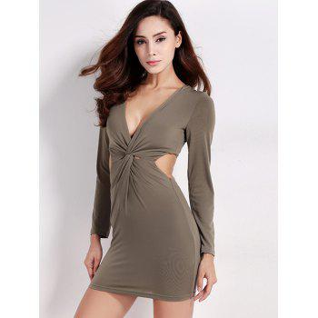 Twist Zip Long Sleeve Night Out Dress - ARMY GREEN M