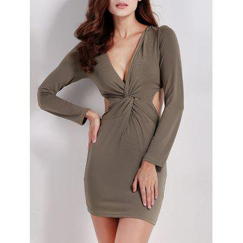 Twist Zip Long Sleeve Night Out Dress
