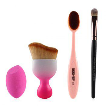 Cosmetic 4 Pcs/Set Wave Shape Blush Brush + Foundation Brush + Eyeshadow Brush + Bevel Cut Makeup Sponge