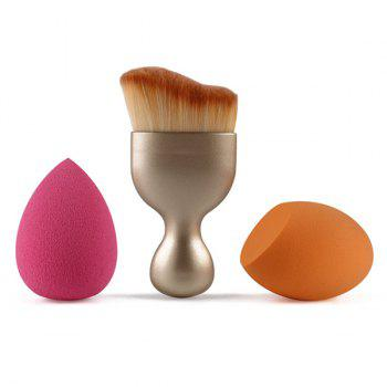 Cosmetic 3 Pcs/Set Wave Shape Blush Brush + Bevel Cut Makeup Sponge + Makeup Sponge - GOLDEN GOLDEN