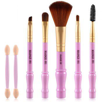 Cosmetic 7 Pcs Gourd Shape Nylon Facial Eye Lip Makeup Brushes Set - PURPLE PURPLE