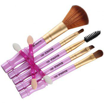 Cosmetic 7 Pcs Gourd Shape Nylon Facial Eye Lip Makeup Brushes Set -  PURPLE