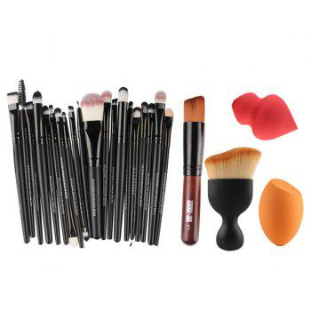 Cosmetic 20 Pcs Makeup Brushes Set + 2 Pcs Makeup Sponge + Wave Shape Blush Brush + Foundation Brush