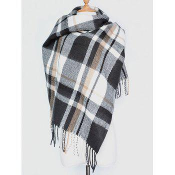 Winter Warm Plaid Tassel Edge Shawl Wrap Scarf