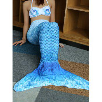 Halter Bikini Top and  Colorful Mermaid Tail Two Piece Swimsuit