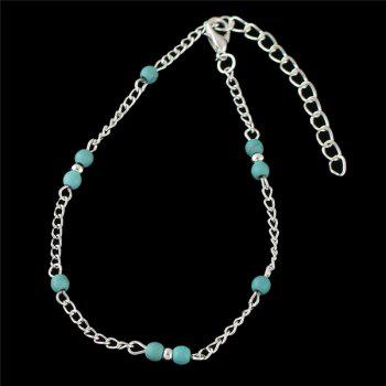Faux Turquoise Beaded Anklet -  SILVER