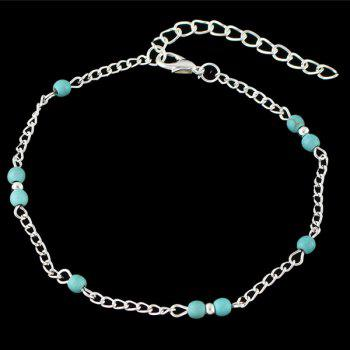 Faux Turquoise Beaded Anklet - SILVER SILVER