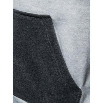 Color Splicing Zip Up Raglan Sleeve Hoodie - GRAY M