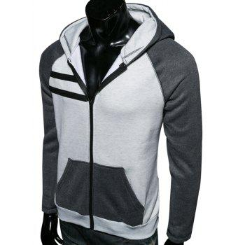 Color Splicing Zip Up Raglan Sleeve Hoodie - GRAY XL