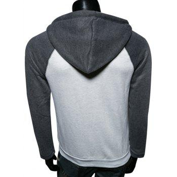 Color Splicing Zip Up Raglan Sleeve Hoodie - GRAY 2XL