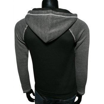 Couleur Splicing Zip Up Hoodie manches Raglan - Noir 2XL