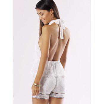 Halter Backless Cut Out Ruffle Romper - WHITE XL