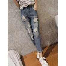 Casual High Waist Ripped Denim Cuffed Pants