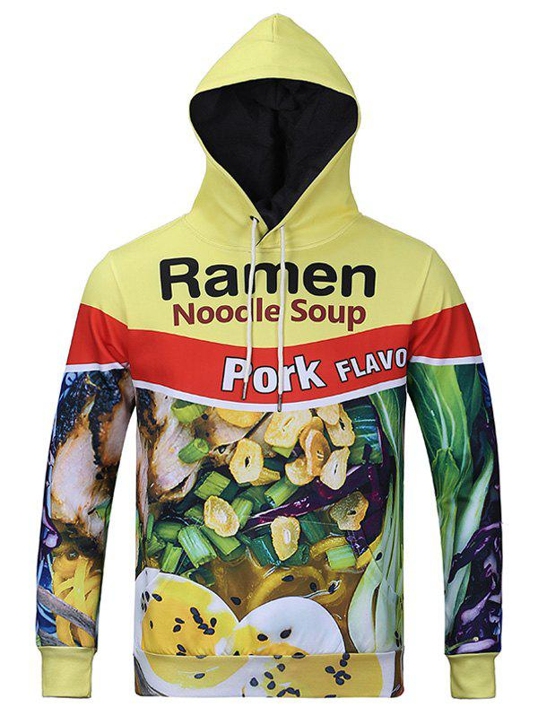 3D Pork Noodle Soup Print Kangaroo Pocket Men's Long Sleeve Hoodie - YELLOW 3XL
