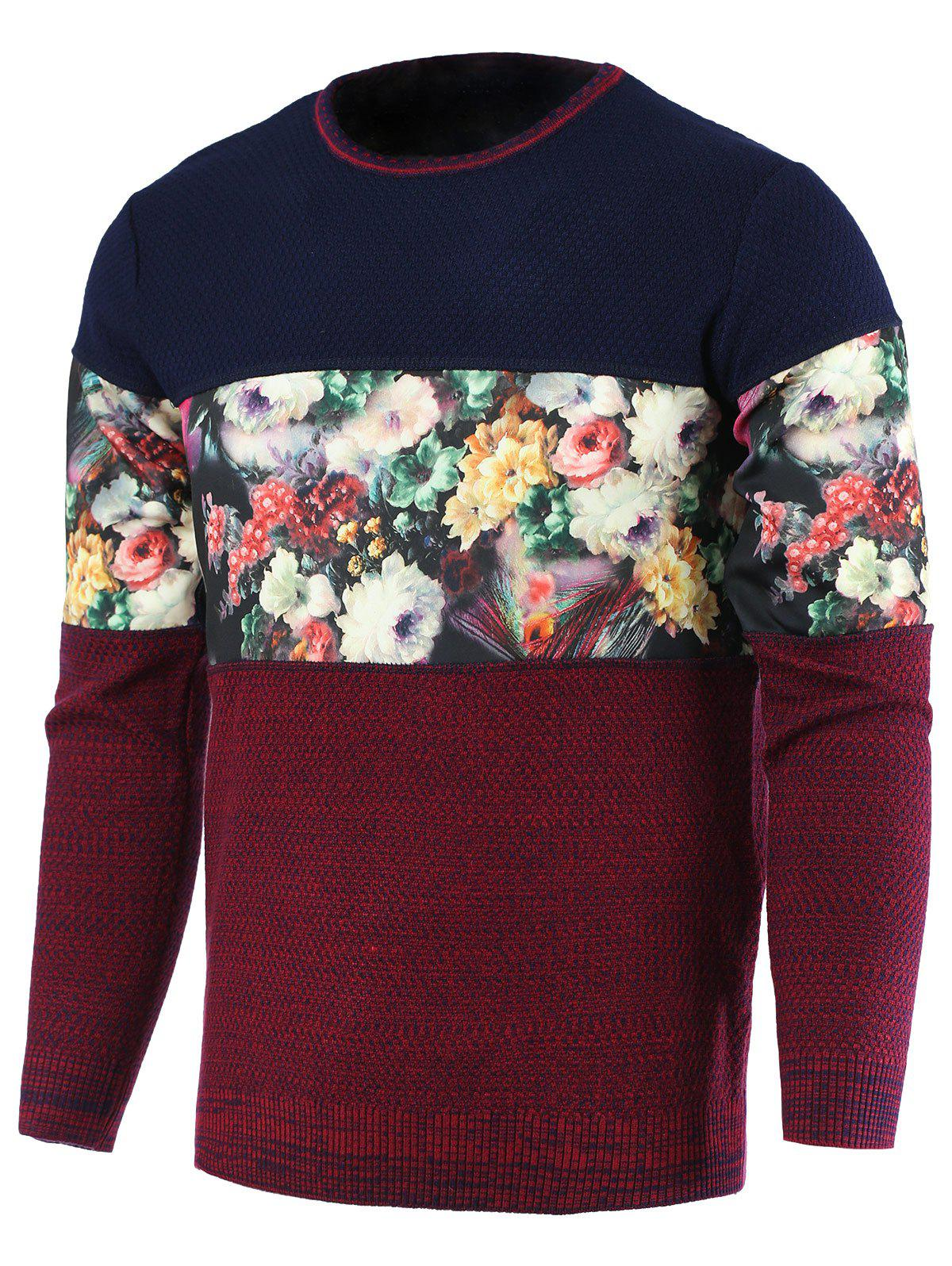 Round Neck Color Block Splicing Floral Print Long Sleeve Men's Sweater