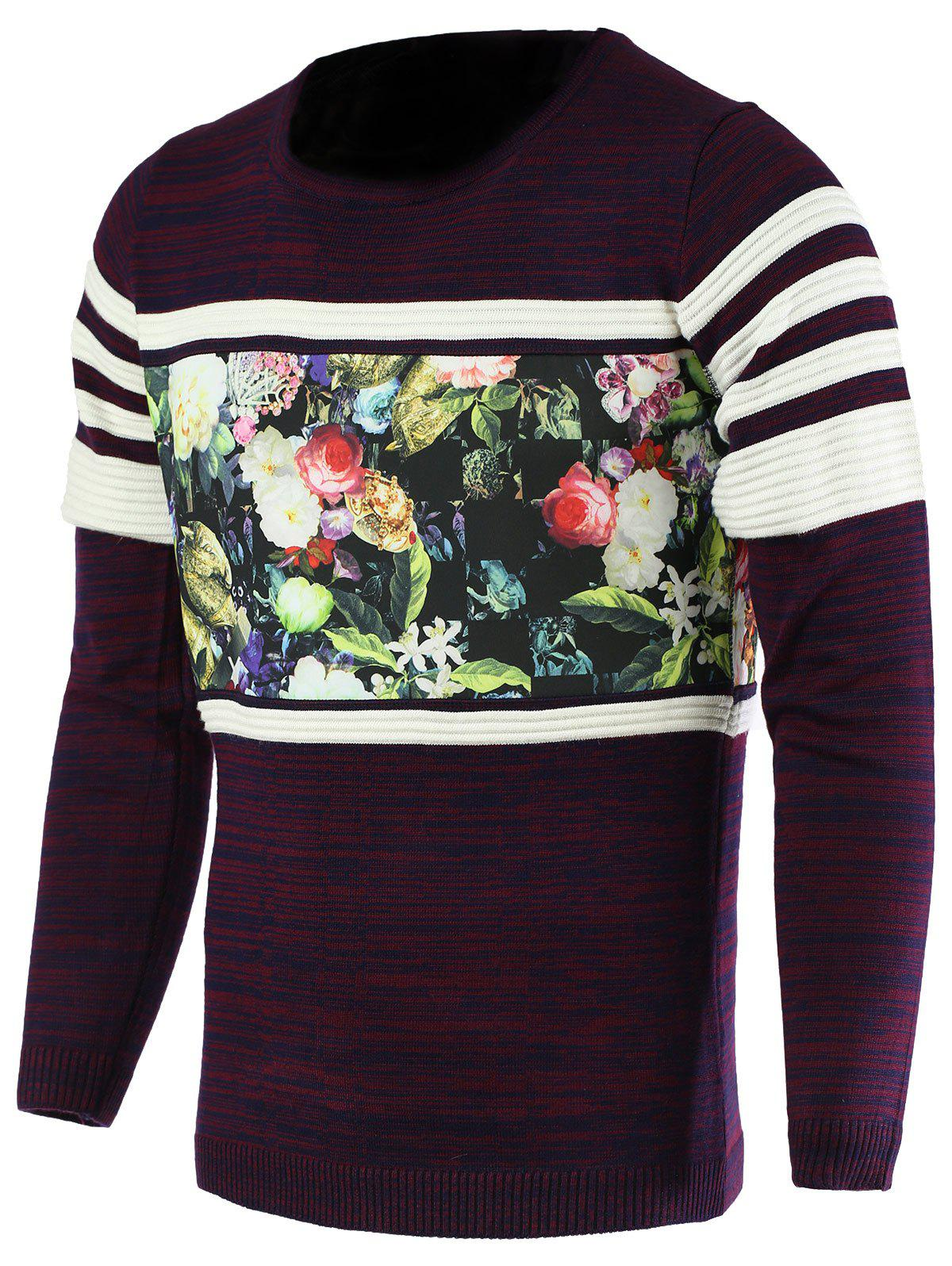 Round Neck Color Block Splicing Flower Print Long Sleeve Men's Sweater