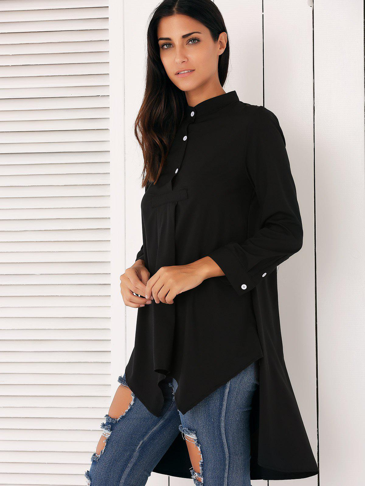Stylish Asymmetrical Swing Shirt - BLACK M