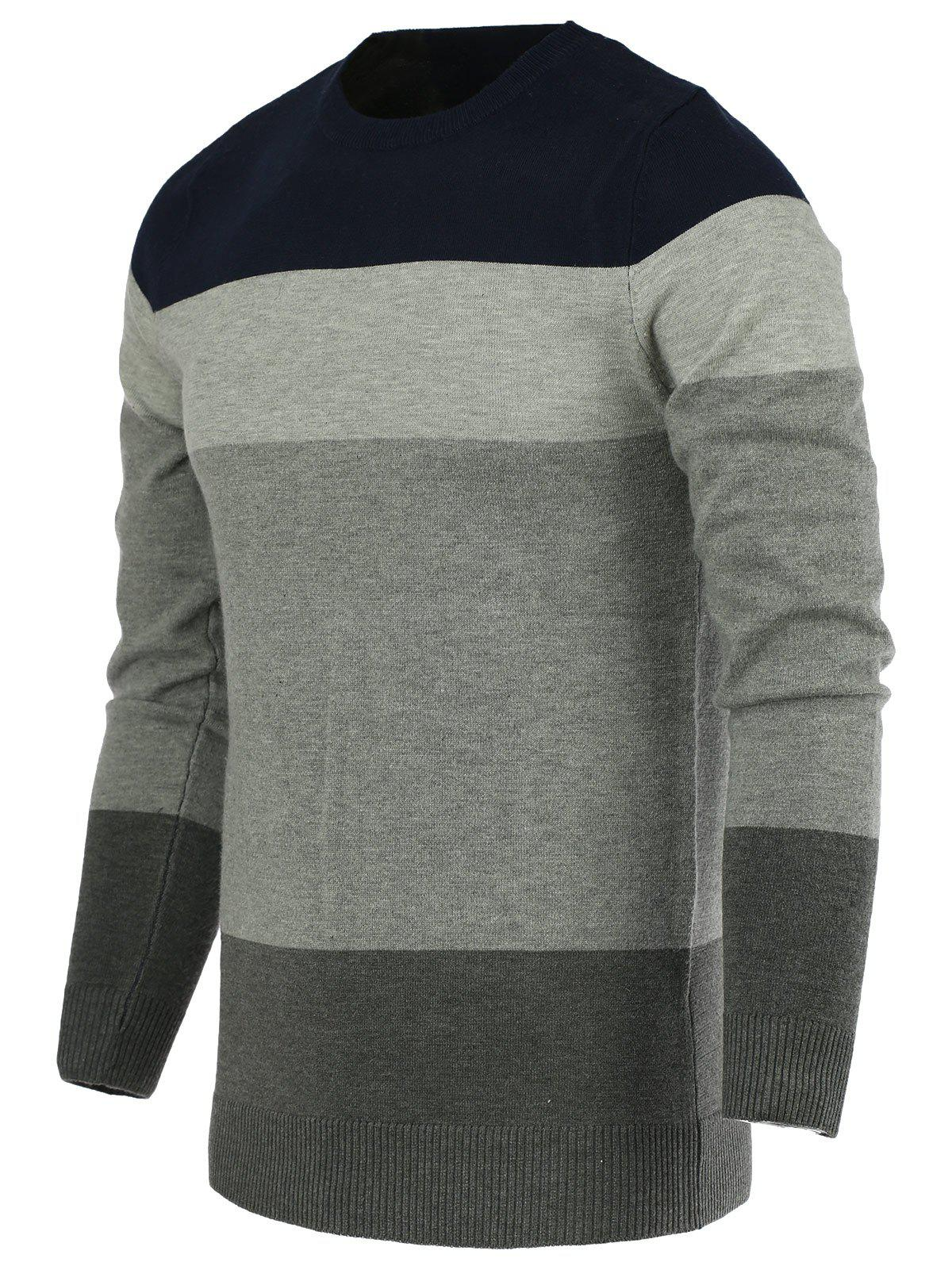 Color Block Splicing Round Neck Long Sleeve Men's Sweater - SAPPHIRE BLUE XL