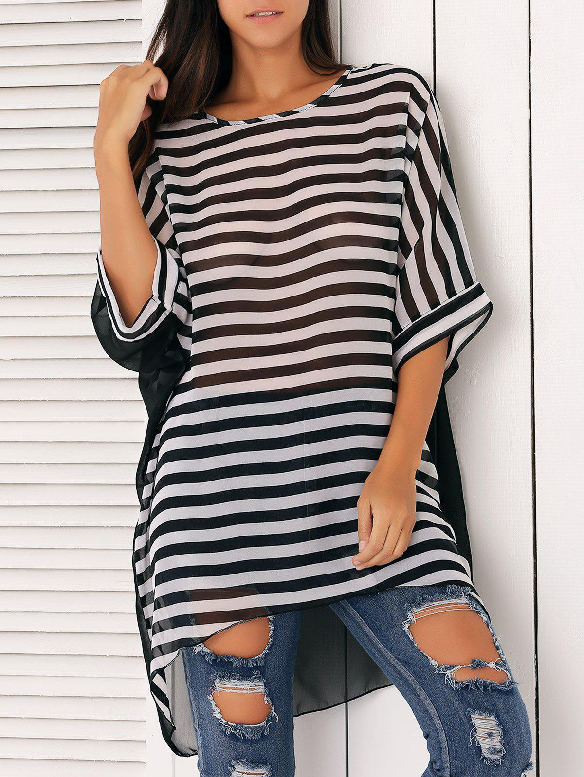 Loose-Fitting Striped Chiffon Cover-Up - STRIPE ONE SIZE