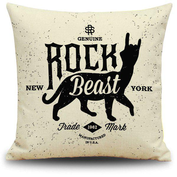 Creative Black and Beige Letter Animal Printed Pillow Case - BEIGE