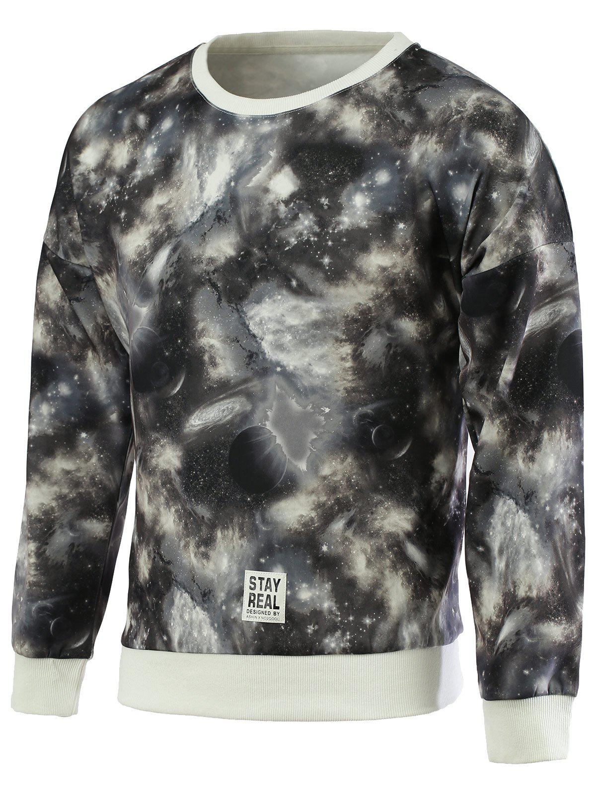 Fashionable Galaxy Print Round Neck Long Sleeves Sweatshirt For Men - COLORMIX 2XL