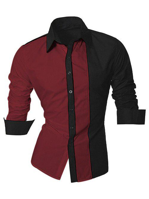 Long Sleeve Color Block Splicing Design Men's Shirt 189638828