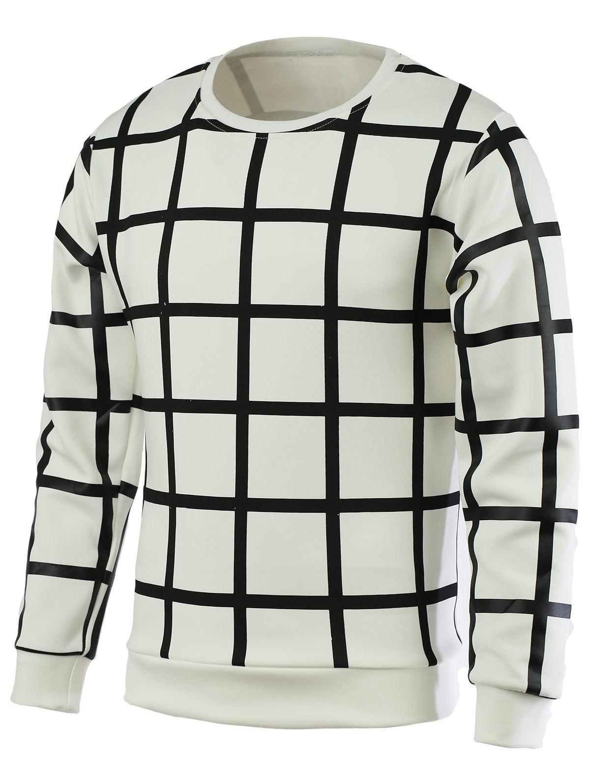 Plaid Round Neck Long Sleeve Men's Pullover T-Shirt - WHITE 2XL