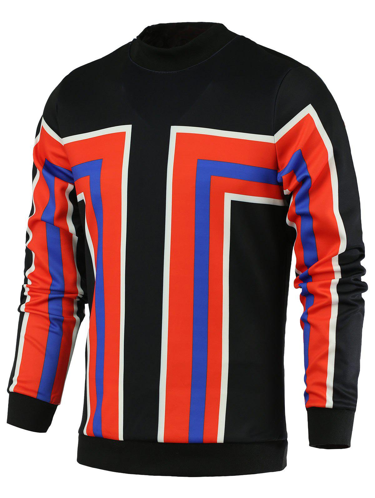 Stand Collar Color Block Geometric Print Long Sleeve Men's Sweatshirt - RED 2XL