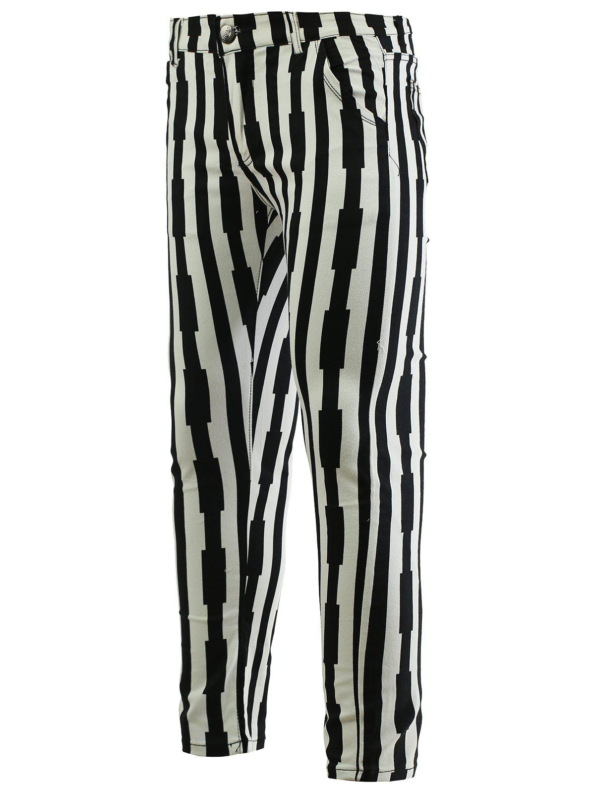 Striped Zipper Fly Skinny Men's Tapered Pants - WHITE/BLACK 33