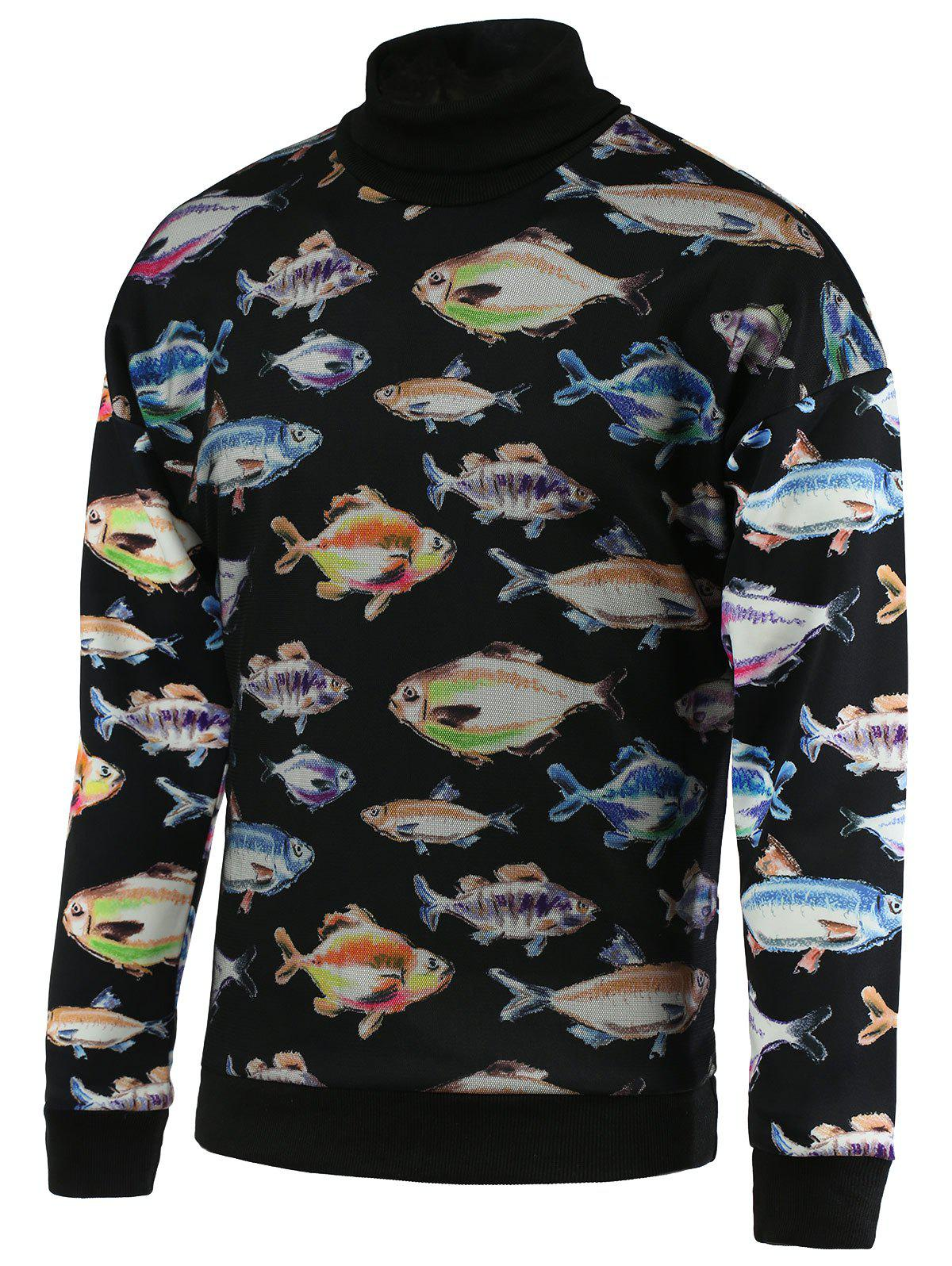 Turtle Neck 3D Fish Print Long Sleeve Men's Sweatshirt - BLACK M