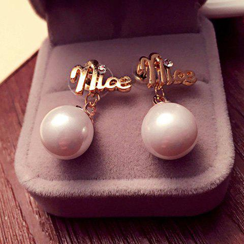 Pair of Chic Style Faux Pearl Rhinestone Nice Earrings For Women - GOLDEN