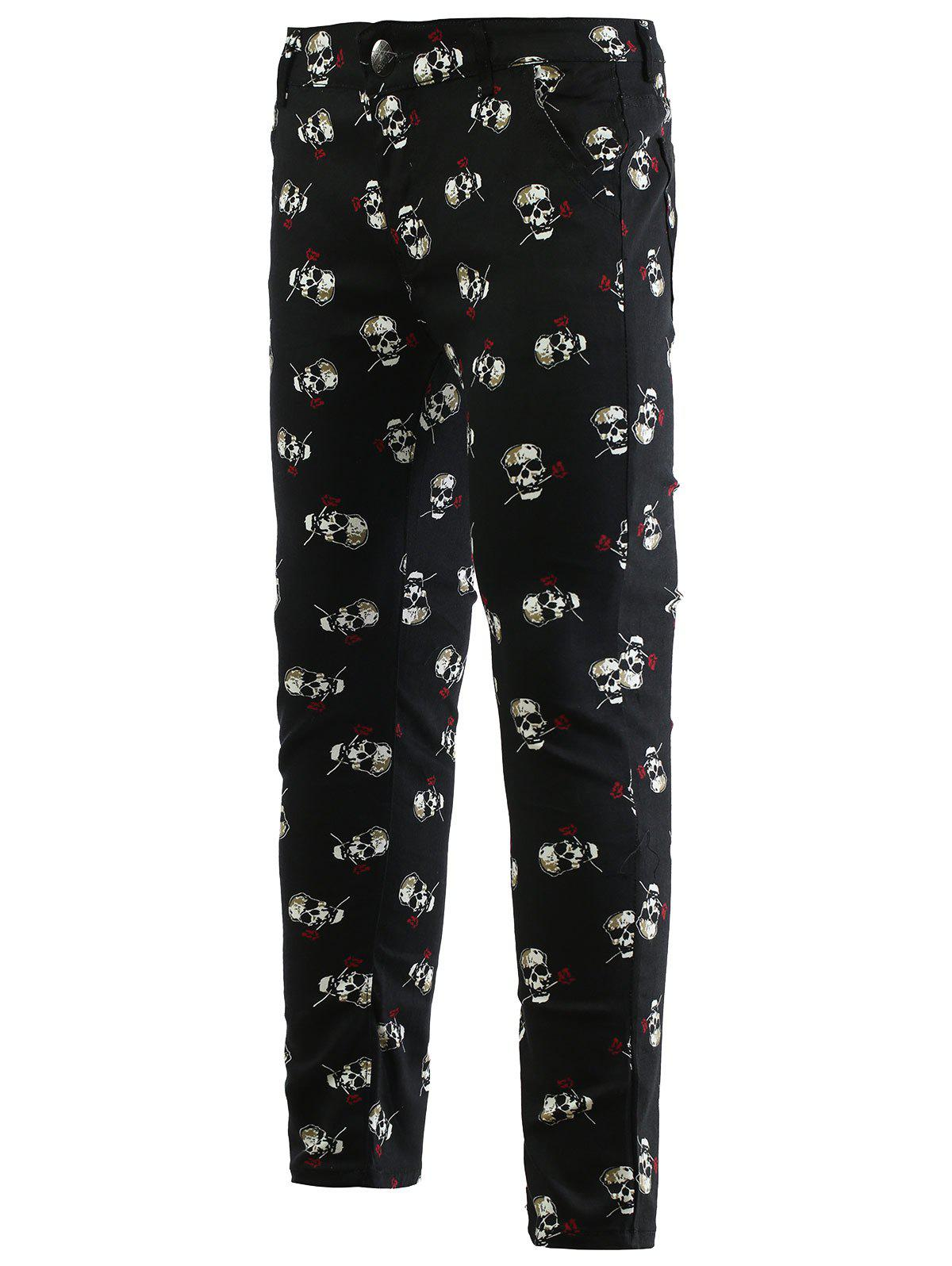 Rose Skull Print Zipper Fly Skinny Men's Tapered Pants - BLACK 33