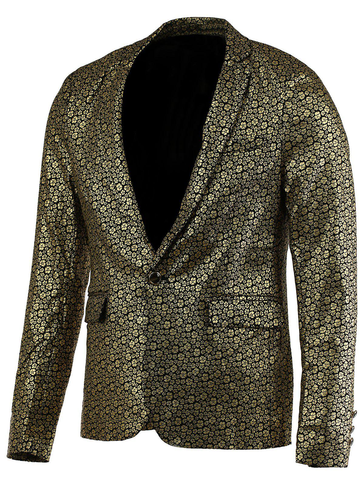 Floral Hot Stamping Printing Lapel Long Sleeve Men's Blazer - GOLDEN 2XL
