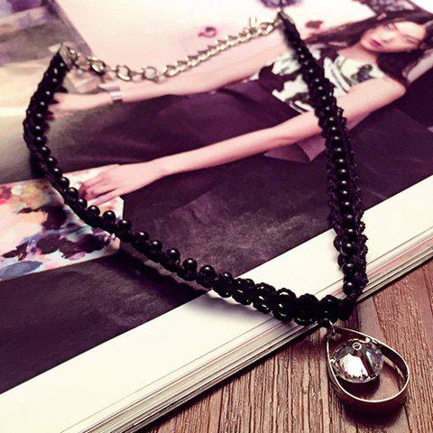 Vintage Style Teardrop Rhinestone Necklace - BLACK
