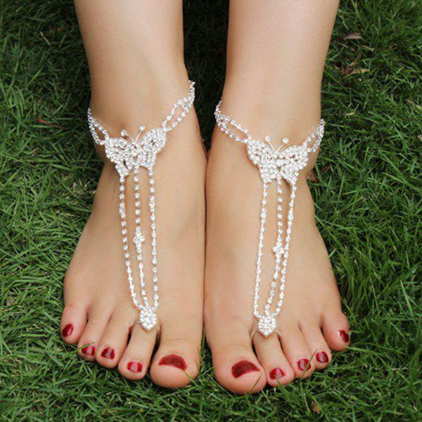 Pair of Chic Rhinestoned Butterfly Anklets For Women