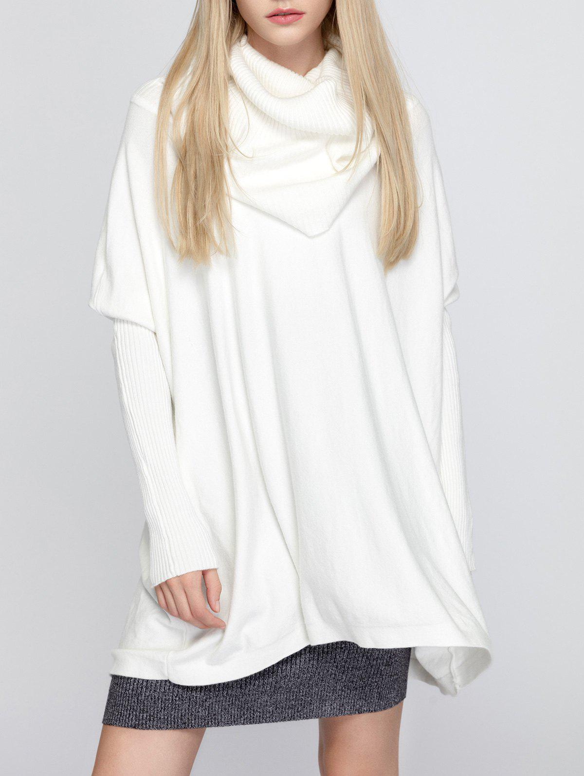 2018 Oversized Turtleneck Tunic Long Sweater WHITE ONE SIZE In ...