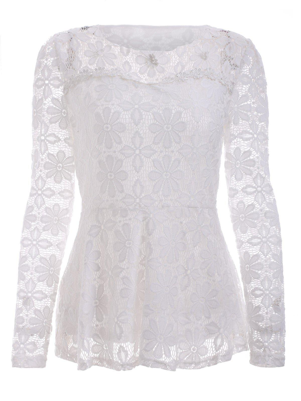 Trendy Long Sleeve Floral Embroidered White Lace Blouse - WHITE 5XL