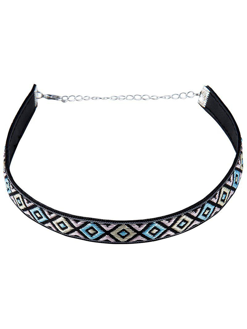 Stylish Square Embroidery Choker Necklace