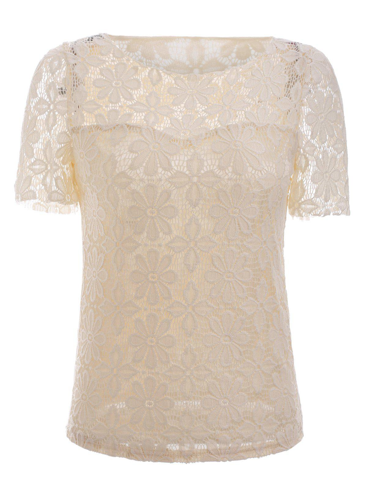 Trendy Short Sleeve Translucent Floral Embroidered Lace Blouse - LIGHT APRICOT 5XL