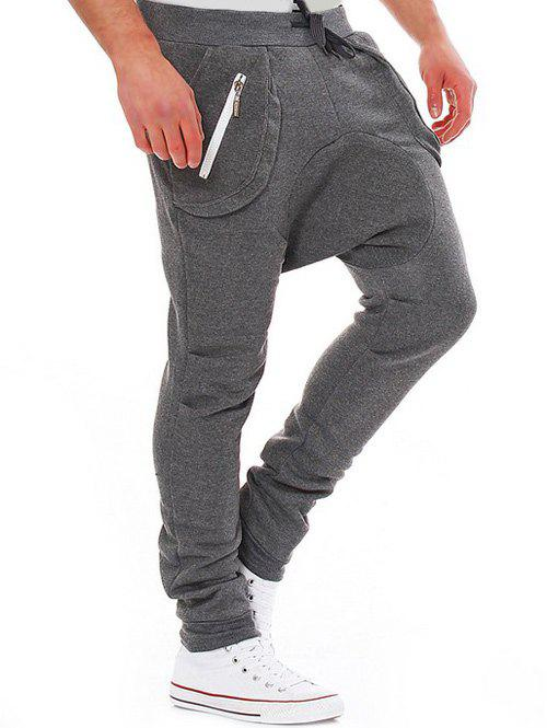 Modish Lace-Up Slimming Pocket Zipper Design Narrow Feet Polyester Low-Crotch Pants For Men - DEEP GRAY XL