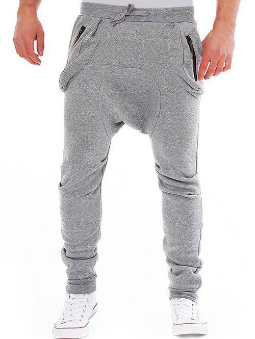 Modish Lace-Up Slimming Pocket Zipper Design Narrow Feet Polyester Low-Crotch Pants For Men - LIGHT GRAY M