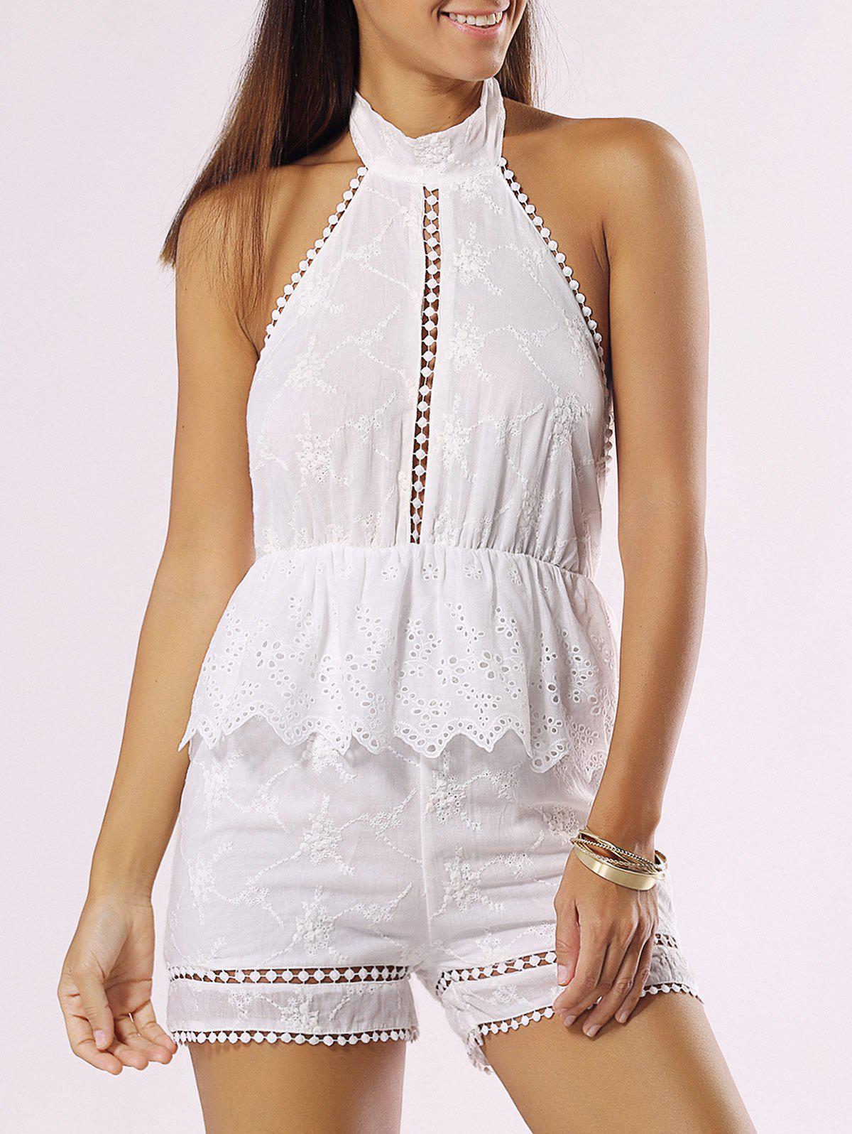 Chic Halter Backless Cut Out Romper - WHITE XL
