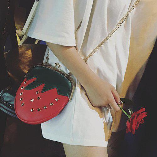 Leisure Metal Rivets and Strawberry Pattern Design Women's Crossbody Bag - RED/GREEN