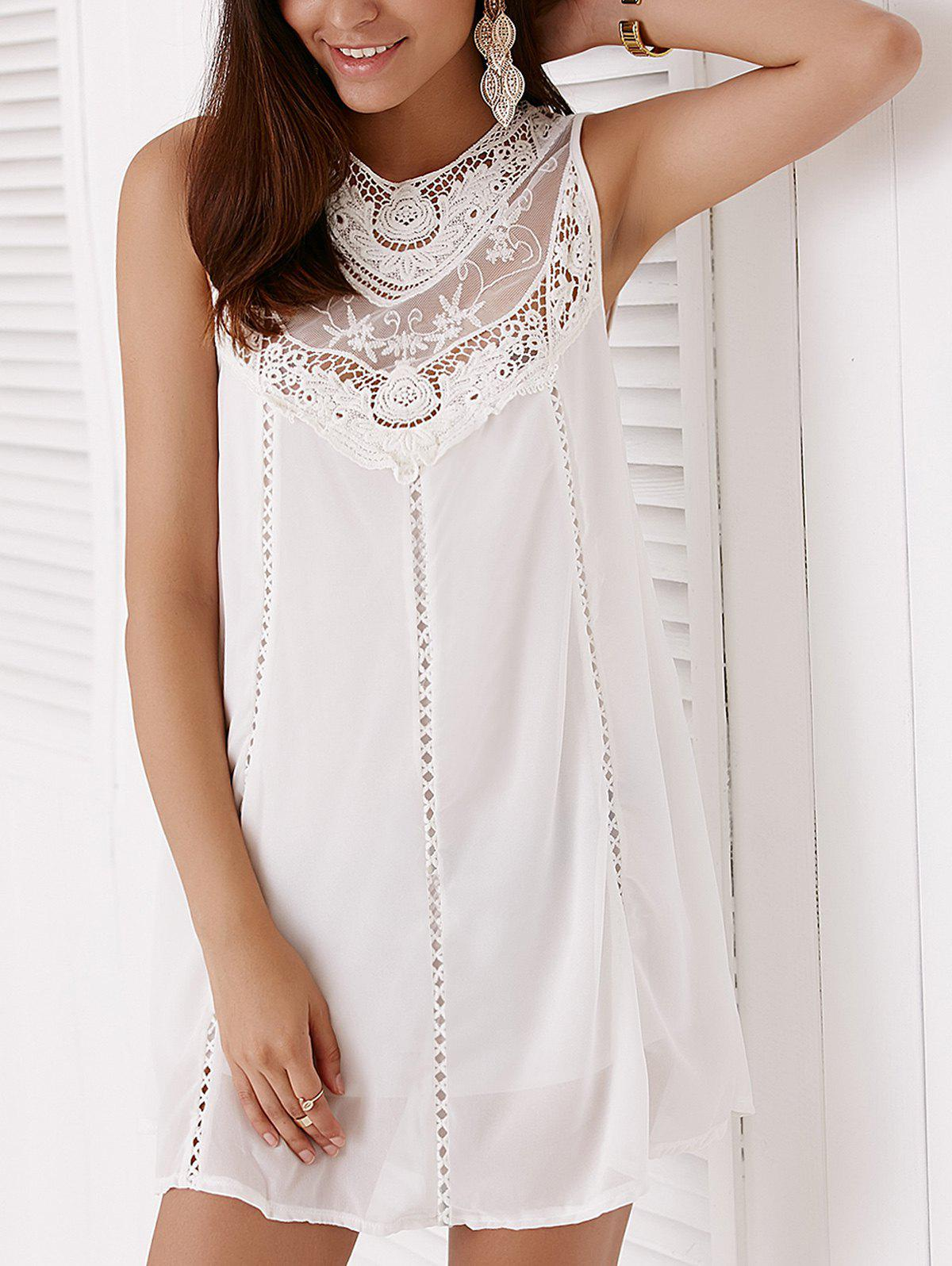 Trendy Round Collar Sleeveless Lace Splicing Women's Dress - WHITE S