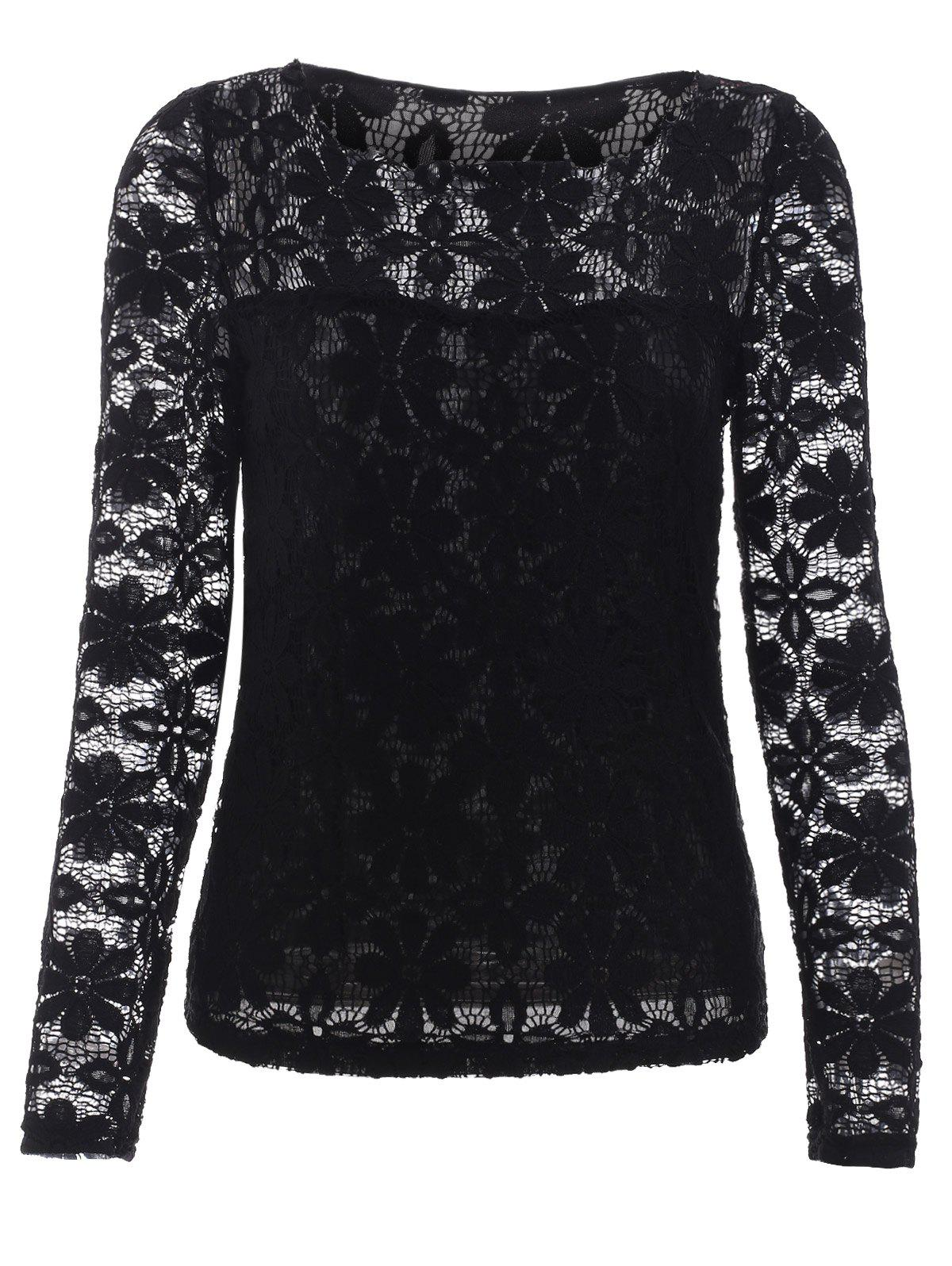Trendy Long Sleeve Floral Embroidered Translucent Lace Blouse - BLACK 5XL