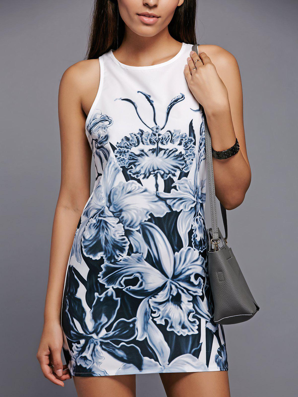 Casual Floral Print Round Neck Sleeveless Dress - WHITE S
